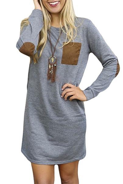 Mupoduvos Mujeres Llanura Sudadera De Manga Larga Camisa Vestido Túnica Suelta Gray XS