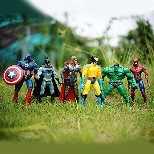 6pcs Marvel The Avengers Super Hero Hulk Captain Spiderman Figure Kids Toy