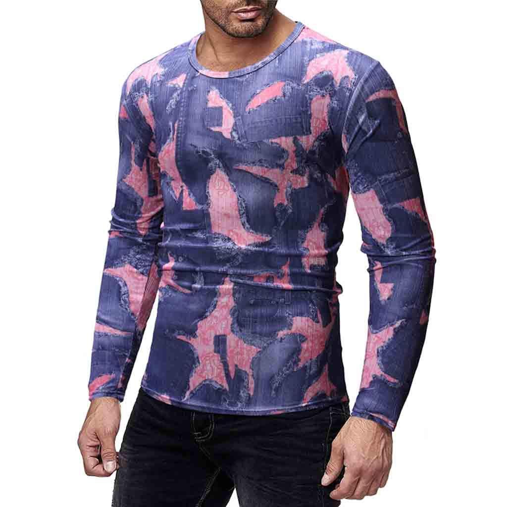 Pottseth Mens T-Shirts Casual Slim Fit O-Neck Print Top Shirt Long Sleeve Blouse Pullover