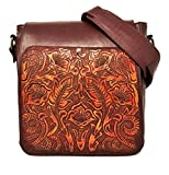 Juno Vintage Floral Artisan Leather Handmade Adjustable Messenger Cross Body Handbag Designer Gift for Women (Cocobolo)
