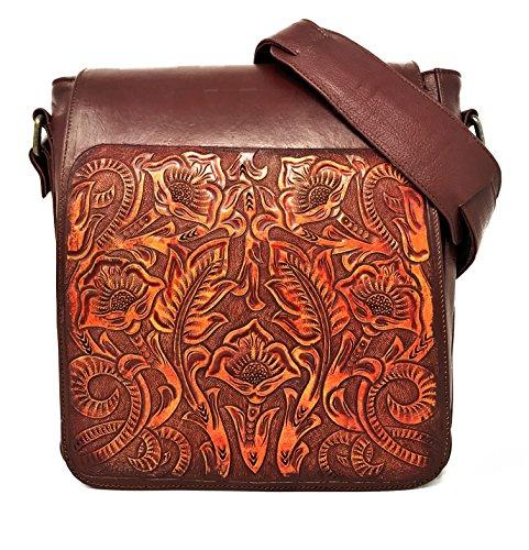 Gift Floral Women Messenger Handbag for Vintage Adjustable Cocobolo Handmade Crossbody Leather Juno Artisan H5zqPwTxn