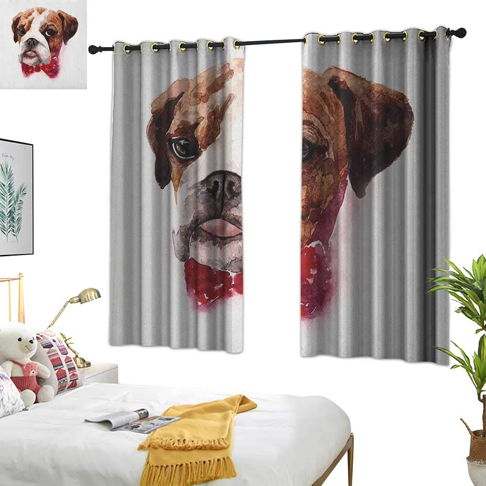Warm Family Curtain tiebacks English Bulldog,Watercolor Dog Portrait with a Bow Tie Design Brush Stroke Effect, Brown Ruby Black 72''x96'',for Bedroom Embroidery Curtain for Living Room