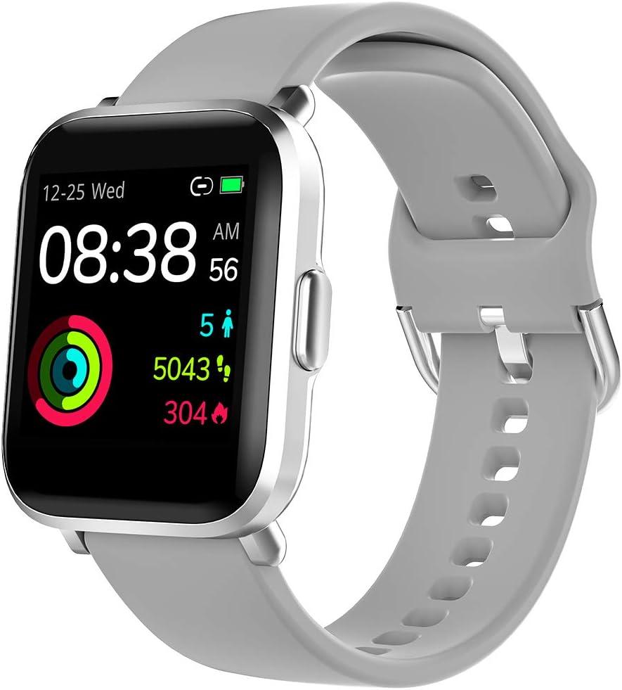 Smartwatch, YONMIG Orologio Fitness Uomo Donna, Smart Watch Touch con Saturimetro(SpO2)/Cardiofrequenzimetro da Polso, Fitness Tracker Sportivo Impermeabile 5ATM Bambini Cronometro per Android iOS