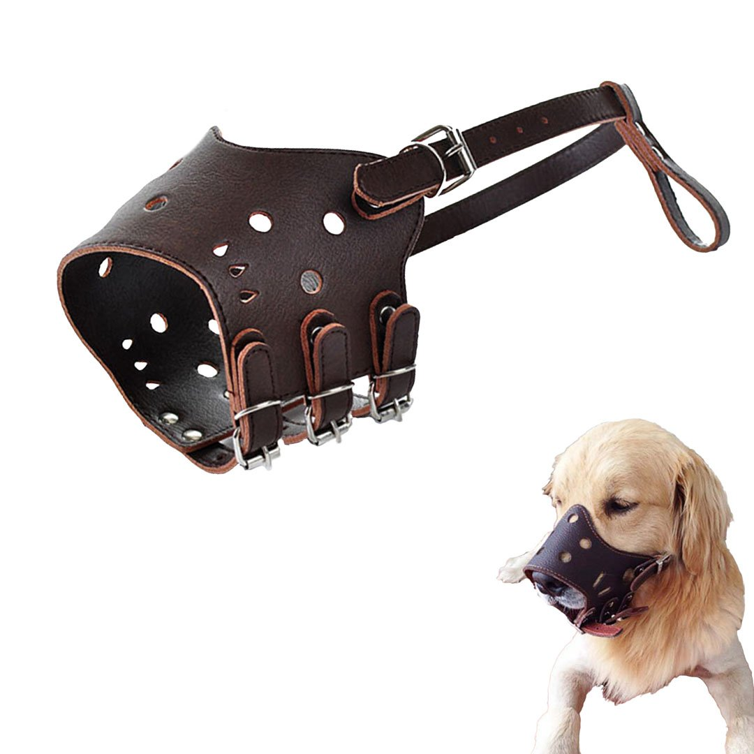 Ennc Pet Muzzles Adjustable Anti-biting Leather Dog Muzzle Flexible Leather Breathable Safety Pet Dog Muzzles Mask for Biting and Barking Lightweight and Durable for Dogs Puppy