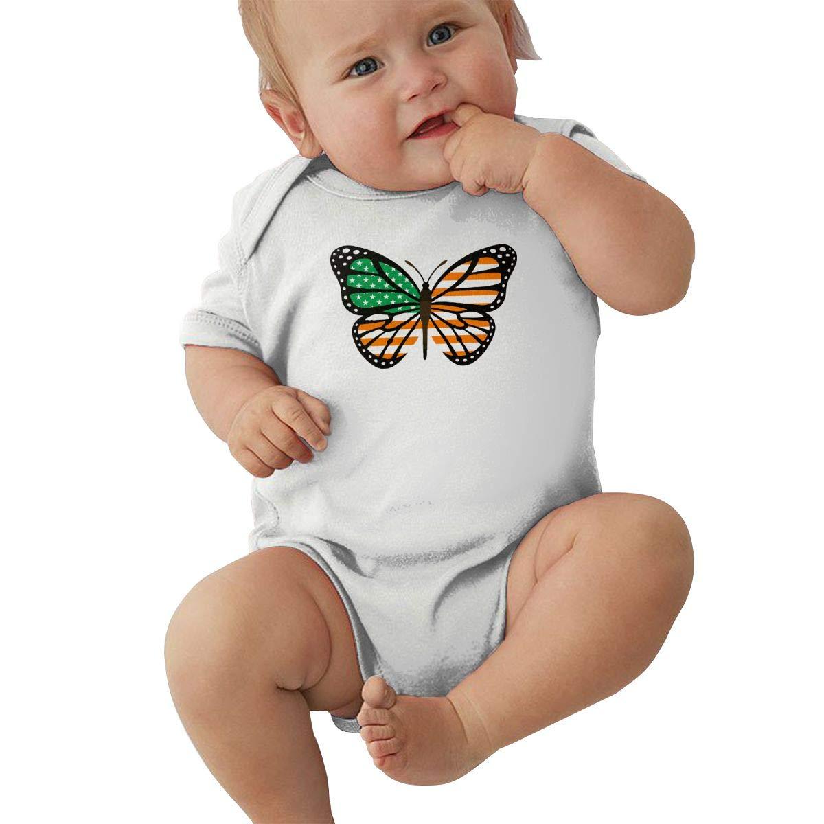 Mri-le2 Toddler Baby Boy Girl Short Sleeve Organic Bodysuits ButterFlag Irish Flag of USA Baby Rompers