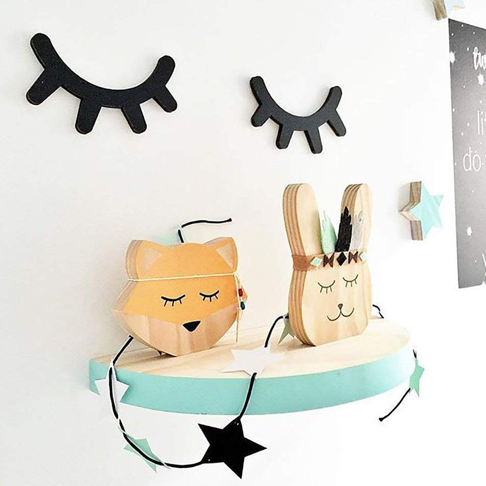Nicedeal DIY 3D Cute Wooden Eyelash Home Furnishing Wall Decoration Closed Eye Pose Ornament 2Pcs Wall Sticker and Deco