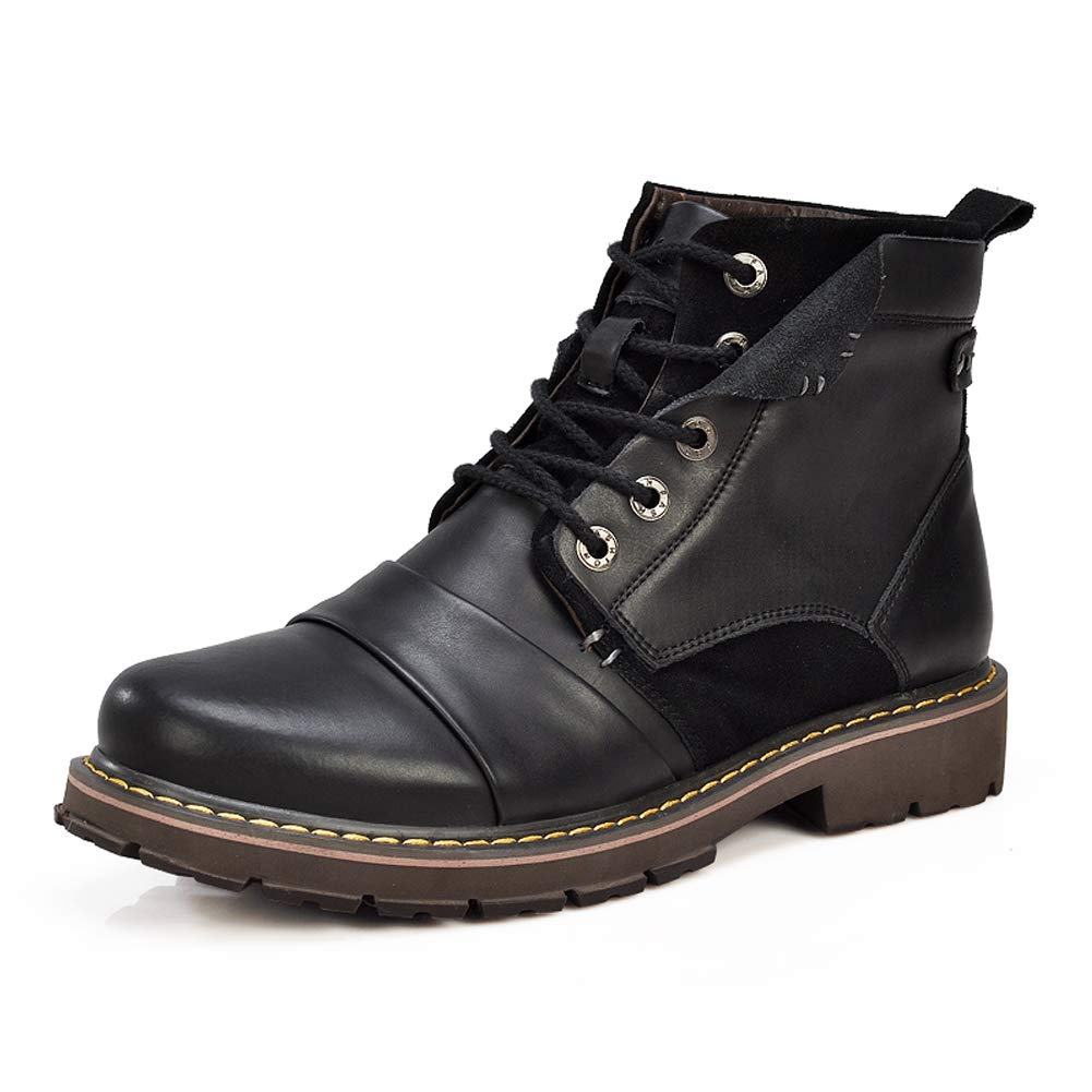 Ruiatoo Work Boots for Men Classic Soft-Toe Lace-up Leather Boot Black 40