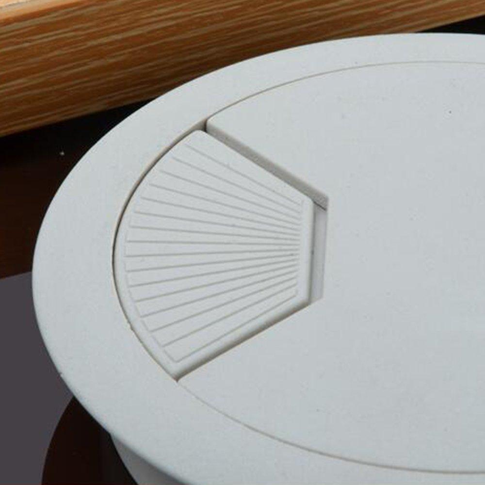 Ogquaton 60mm Schreibtisch Draht Loch Abdeckung Kunststoff Kreis Tabelle T/ülle Outlet Draht Loch Kabel Management f/ür Home Office 1 St/ücke