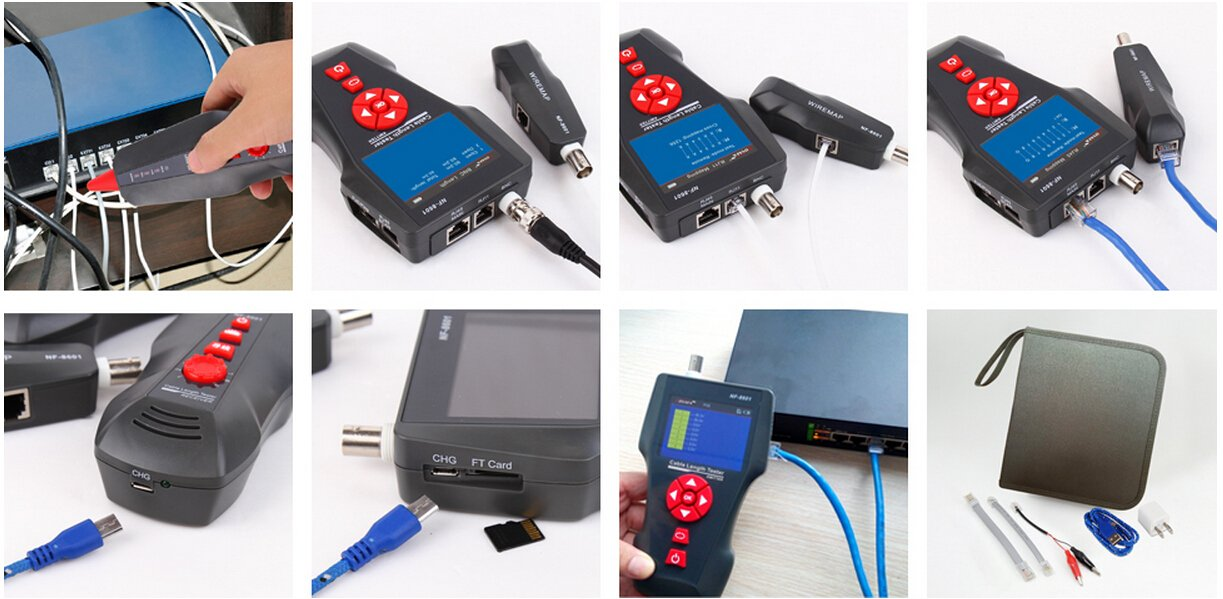 PING//POE 8 Identifier Telephone Wire Tracker BNC RJ11 Noyafa NF-8601W RJ45 LAN Network Cable Tester for RJ45