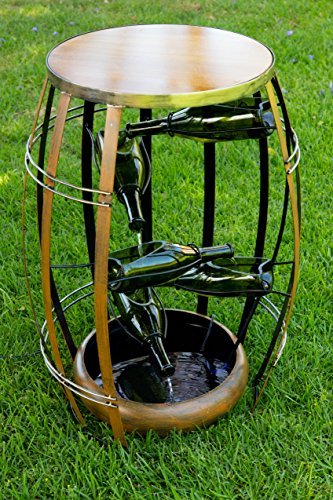 Alpine Metal Tiered Wine Bottles in a Barrel Fountain, 31 Inch Tall (Barrel Wine Furniture Garden)