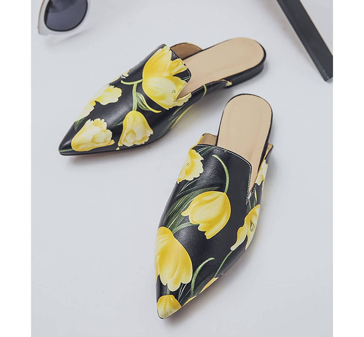 SaunterWay Womens Floral Leather Pointed Toe Mules Backless Slide Loafers Flat