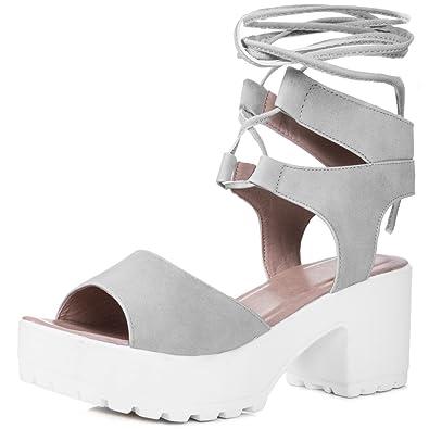 5d0d15d2042 Open Peep Toe Mid Heel Sandals Pumps Shoes Grey Leather Style Sz 7