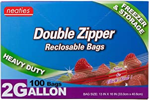 Neaties Heavy Duty 2 Gallon Double Zip Lock Bags for Kitchen or Storage, 13