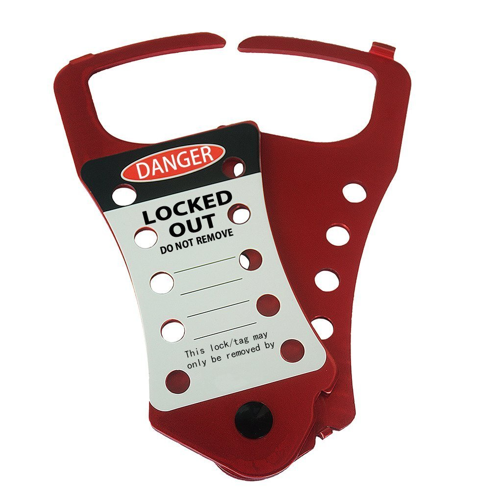 BEIAN LOCK Labeled Lockout Hasp, Industrial Snap-On Aluminum 10 Hole Hasp Lockouts (As picture, Red, 1)