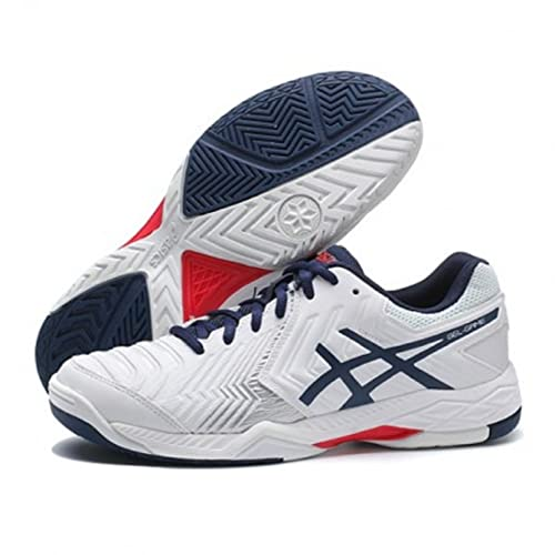 the best attitude c69cd 8efbf ASICS Men s Gel-Game 6 White Insignia Blue Silver Tennis Shoes - 6