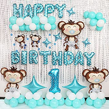 Amazoncom Cartoon Monkey Baby Birthday Party Balloon Set Birthday