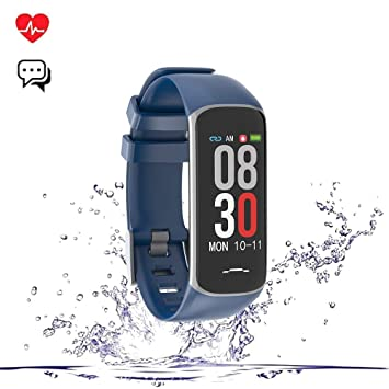 Bblank Pulsera Inteligente, IP68 Nivel de Resistente al Agua Pulsera Actividad, Pantalla a Color Táctil OLED Bluetooth 4.0 Relojes Inteligentes,Blue: ...