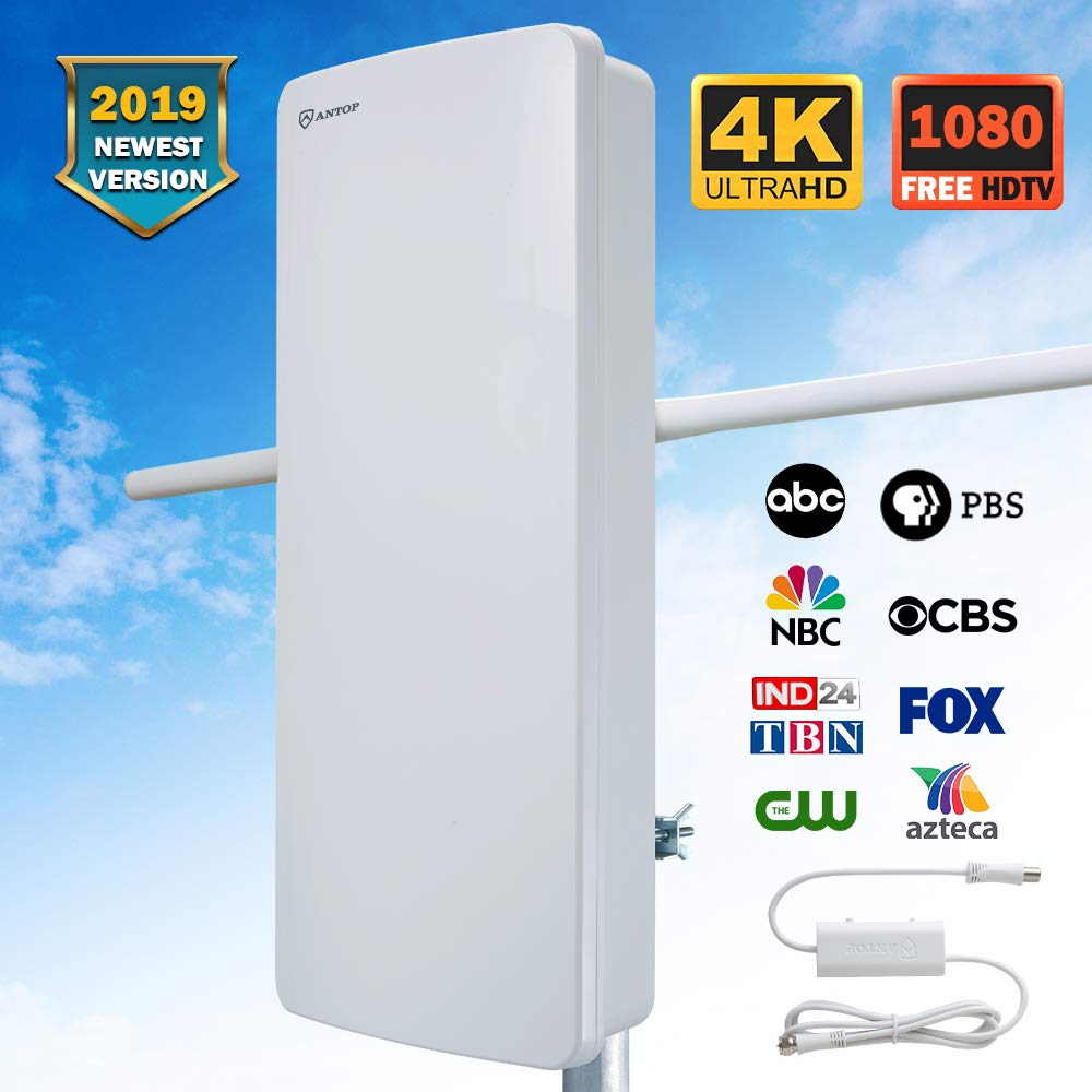 ANTOP Outdoor HDTV Antenna Build-in Noise-Free 4G LTE Filter with Smartpass Amplified, Detachable VHF Enhanced Rods 70 Miles Long Range Multi-Directional Reception, 39ft Coaxial Cable