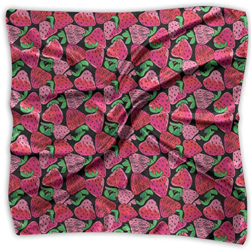 Price comparison product image Bandana Head and Neck Tie Neckerchief, Hand-Drawn Colorful Sketch Pattern Of Strawberries On Dark Background Print, Headband