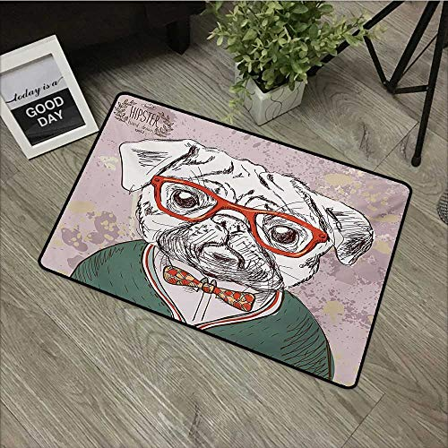 Interior mat W35 x L59 INCH Dog,Vintage Illustration of Old Hipster Pug Dog with Red Glasses and Bow Master of Professor,Multi Non-Slip, with Non-Slip Backing,Non-Slip Door Mat Carpet