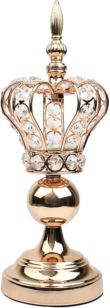 Hophen Metal Crystal Beads Golden Crown Candle Tea Light Holder Elegant Wedding Dining Coffee Table Decorative Centerpiece Anniversary Celebration Mother`s Day House Decor