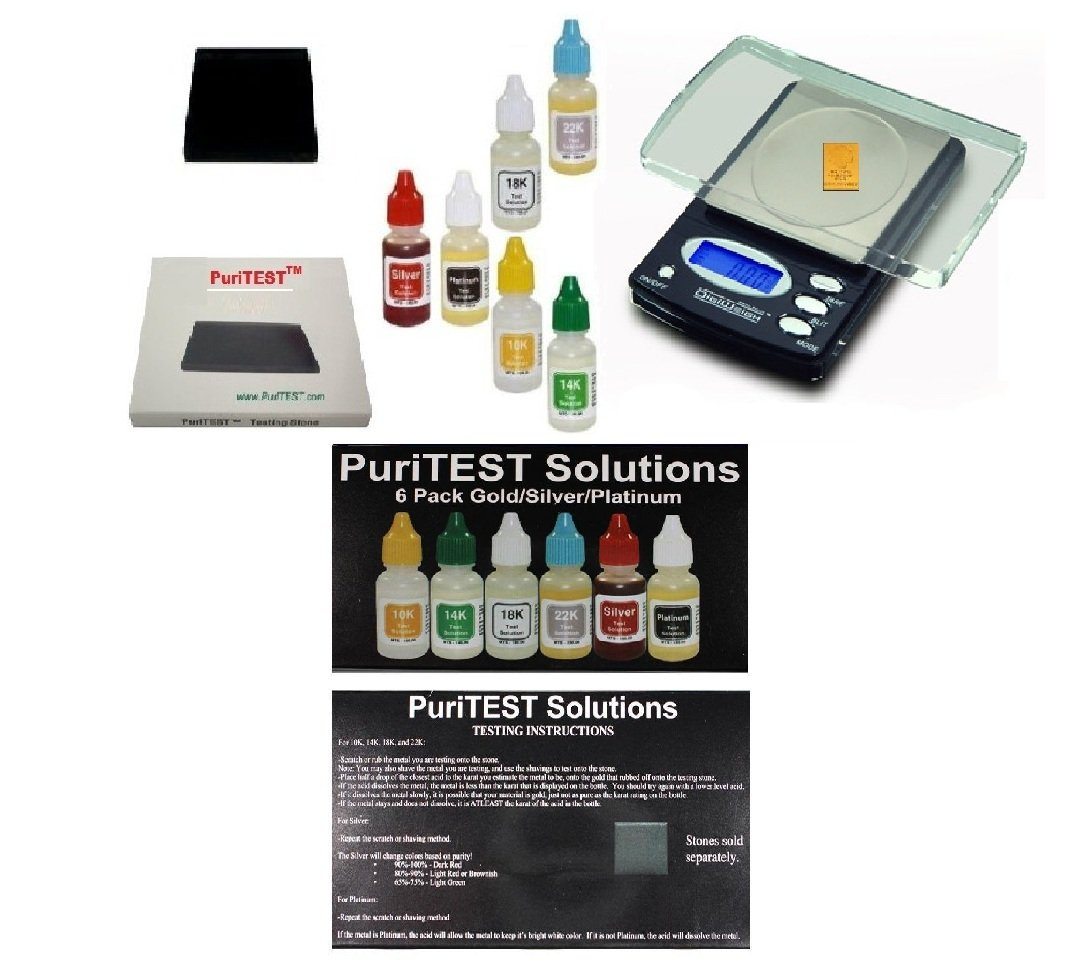 Precious Metals Test Kit with Digital Lab Scale - Testing Metal Detector Finds, Scrap Jewelry, Metal Detector Finds