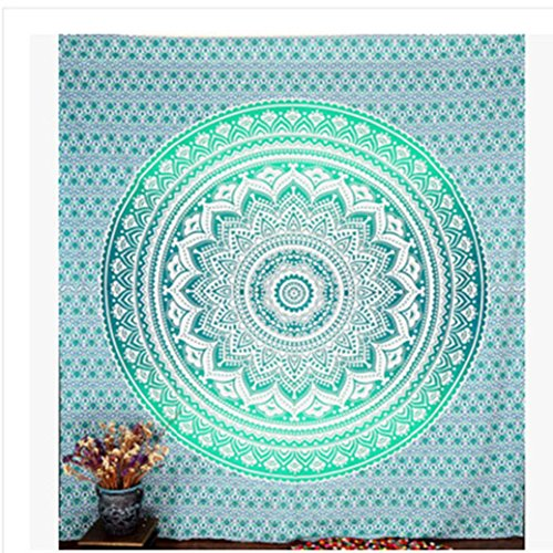 Price comparison product image Mandala Tapestry Bohemian Hippie Wall Hanging Bedspread Beach Towel Yoga Mat Blanket Table Home Decor (Green, Size:148cmx 210cm / 59''x83'')
