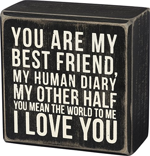 Primitives by Kathy I Love You Wood Box Decorative Sign Best Friends Wall