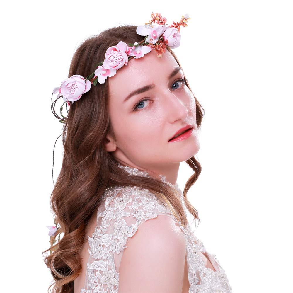 AXEDENRRT 1 Pc Simulation Red Rose Garland Headband Bridal Hair Strap Headdress Beach Resort Creative Women Girls