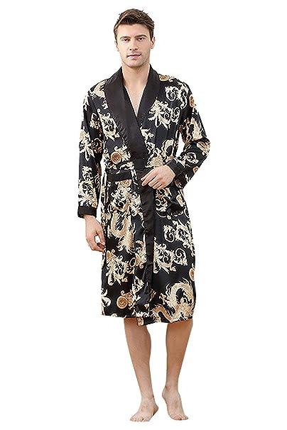 Betrothales Hombres Pareja Pijamas Damas Bañarse Mañana Bata Kimono Hombres Hombres La Camisones Seda Bata Ropa De Noche Imitación para Nocturna Seda Los: ...
