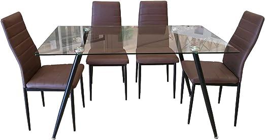 BUDMOSUR Conjunto Mesa y 4 sillas de Comedor: Amazon.es: Hogar