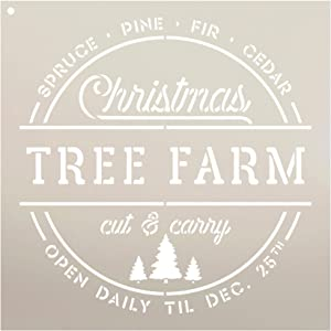 "Christmas Tree Farm - Cut & Carry Stencil by StudioR12 | Reusable Mylar Template | Use to Paint Wood Signs - Pallets - Walls - Banners - DIY Tree Farm Decor - Select Size (12"" x 12"")"