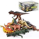 "SU KE DA Realistic Looking 7"" Dinosaurs Pack of 12 Large Plastic Assorted Dinosaur Figures with Dinosaur Book"