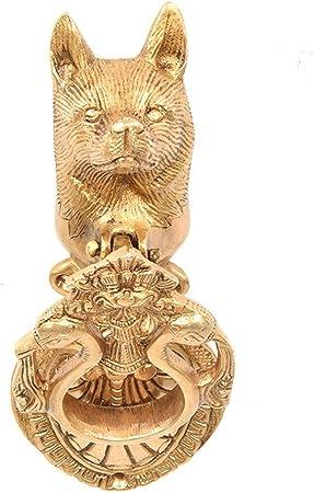 Indianshelf Handmade 1 Piece Vintage Artistic Brass Golden Fox Animal Door Knockers