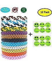 Yithings Bracelet Anti Moustique 12 Pack Imperméables à l'eau des huiles végétales Naturelles Bracelets pour Les Enfants et Les Adultes pour Le Camping de randonnée