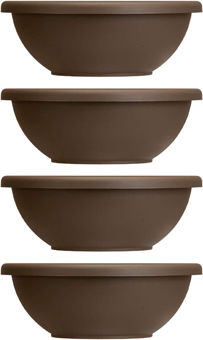 Akro-Mils HC Companies 22 Inch Resin Garden Bowl Planter Pot, Chocolate Brown (4 Pack)