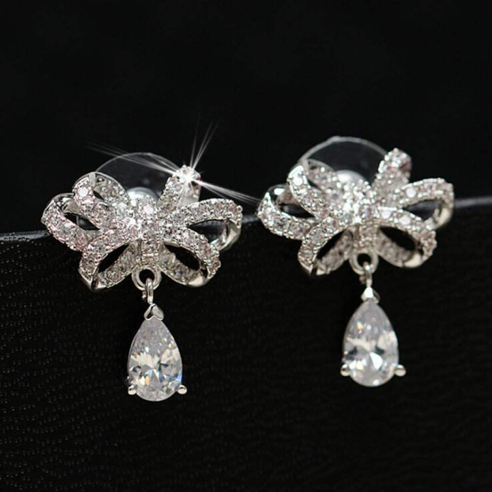 Pendientes de aleación de moda Pendientes de gota de piedra de circón Aaa brillante de lujo para mujer S925 Plateado Anti Alergia Bowknot Pendientes elegantes elegantes y nobles