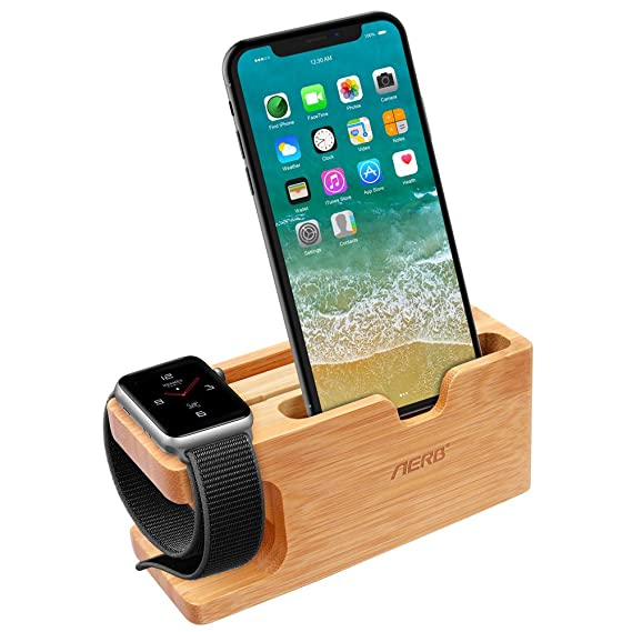 cheaper db2f6 b324d Apple Watch Stand, Aerb Bamboo Wood Charging Stand Bracket Docking Station  Cradle Holder W Business Card Slot Phone Stand for iPhone X 8 7 6 Plus 5 5c  ...