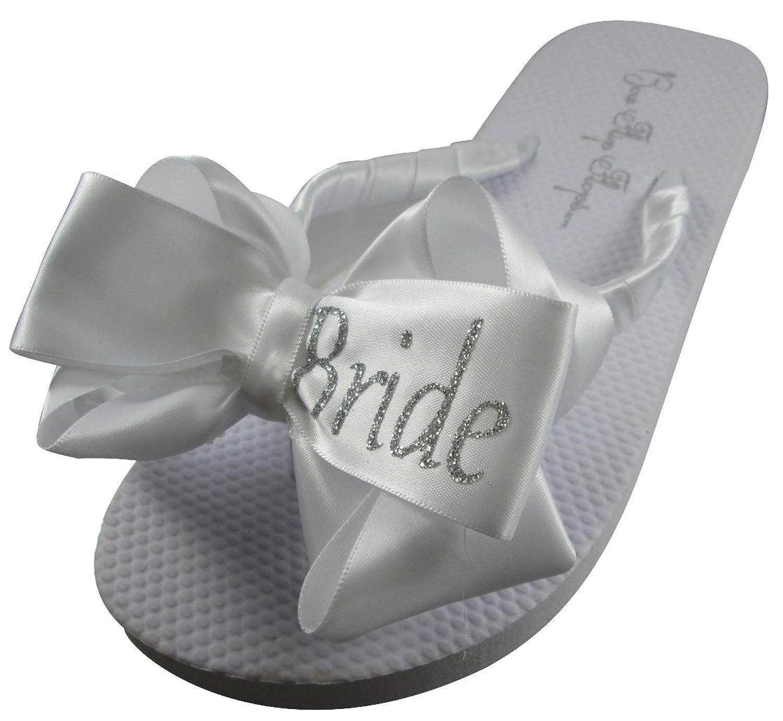 Bride Glitter Bling Bow Flip Flops for the Wedding - 10 colors, all sizes