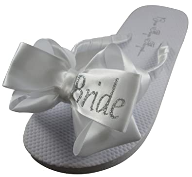 7bbf53cceab1 Bow Flip Flops Bride Glitter Bling for The Wedding - 3 Colors   Amazon.co.uk  Shoes   Bags