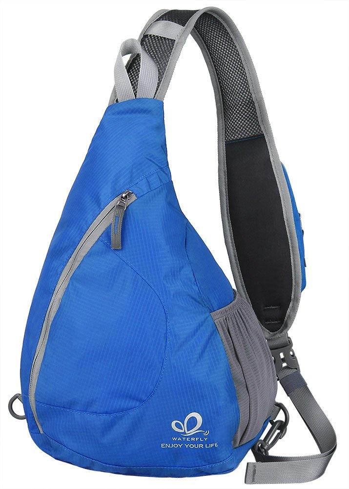 WATERFLY Sling Chest Backpacks Bags Crossbody Shoulder Triangle Packs Daypacks Cycling Walking Dog Hiking Boys Girls Men Women