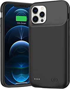 Battery Case for iPhone 12 Pro Max, 8500mAh Portable Battery Pack Rechargeable Smart Charger Case Compatible with iPhone 12 Pro Max (6.7 inch) External Battery Charging Case (Black)