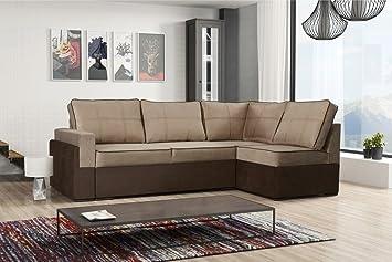 Grand Large Tela marrón y Beige sofá Cama sofá de Esquina ...