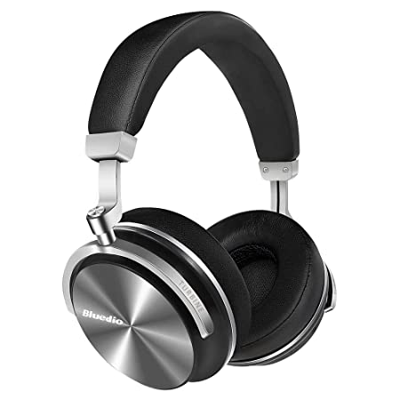 Bluedio T4S Active Noise Cancelling Headphones, Wireless Headset with Hi-Fi Stereo,Soft Memory-Protein Earmuffs,Built in Microphone and Wired Mode for Phone Black