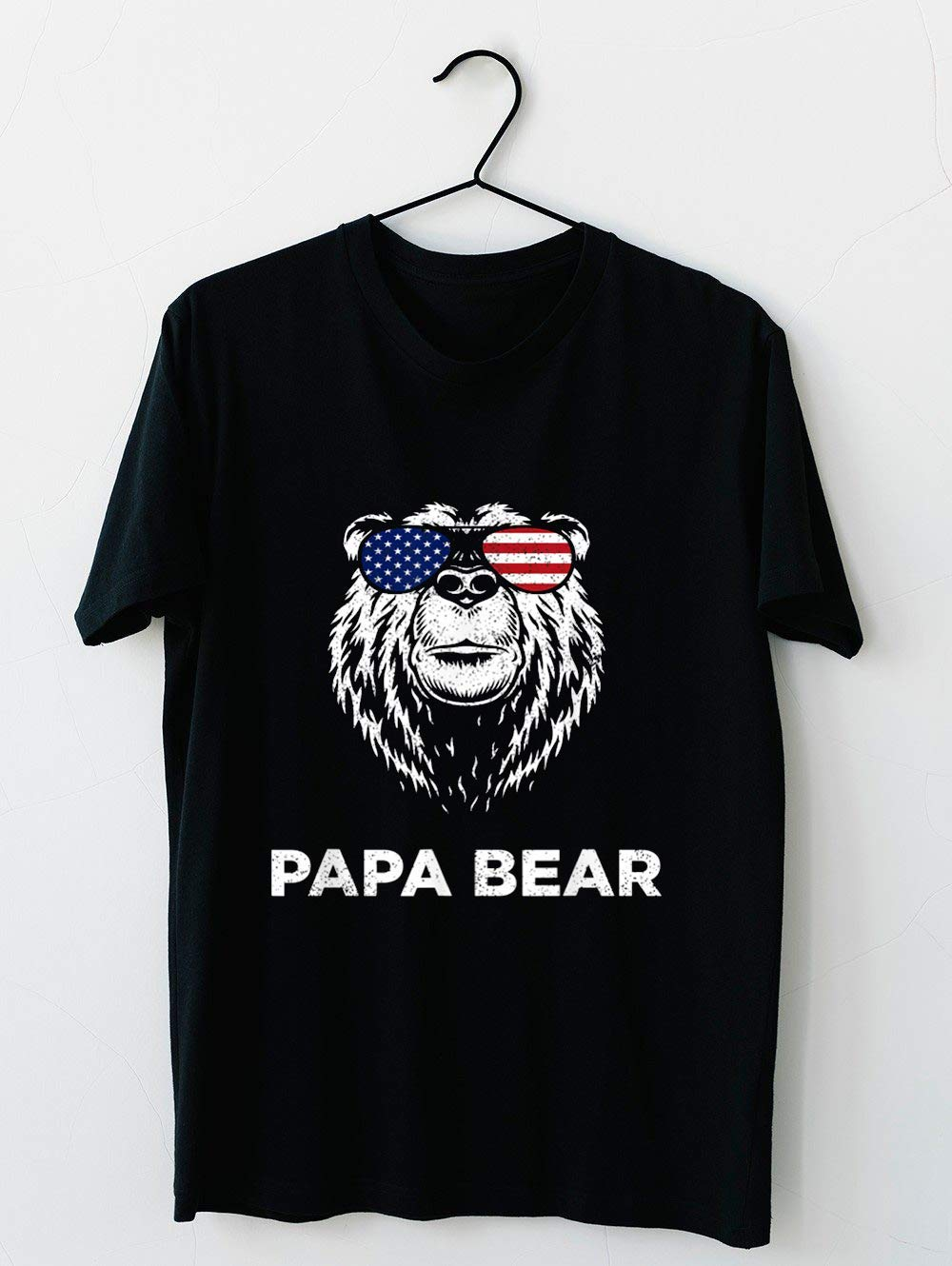 4th Of July Papa Bear American Flag Glasses Patriotic T Shirt For Unisex