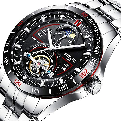 BOYZHE Men Luxury Brand Automatic Mechanical Sports Watches for Men Luminous Waterproof Stainless Steel Leather ()