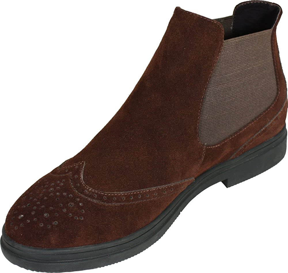 CALTO Mens Invisible Height Increasing Elevator Shoes 3 Inches Taller Brown Suede Leather Slip-on Wing-tip Boots G8101