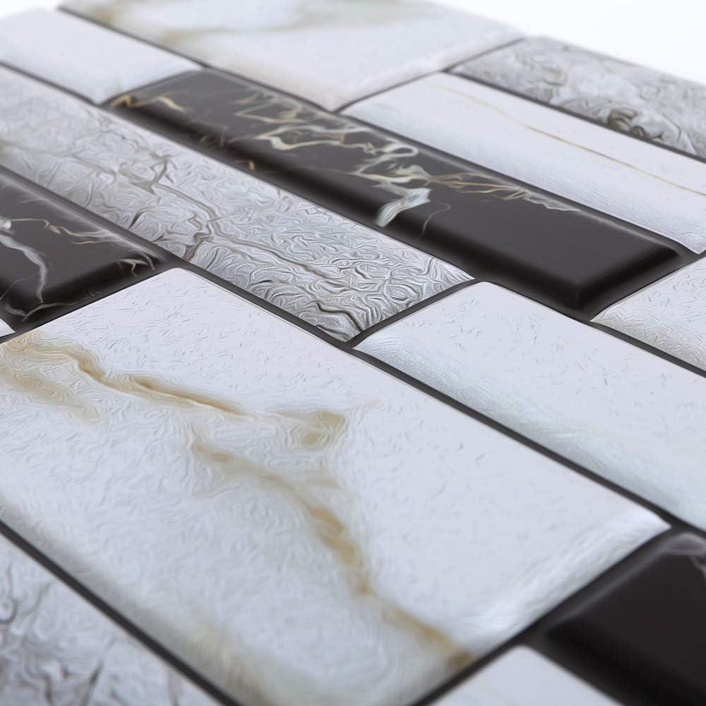 15x15cm 10 PCS Carrelage Adh/ésif Mural Mosa/ïque Salle de Bain Autocollant Mural en PVC Imperm/éable Stickers Muraux Cuisine Anti-Poussi/ère D/écoration pour Salle de Bain Cuisine Salon Bureau