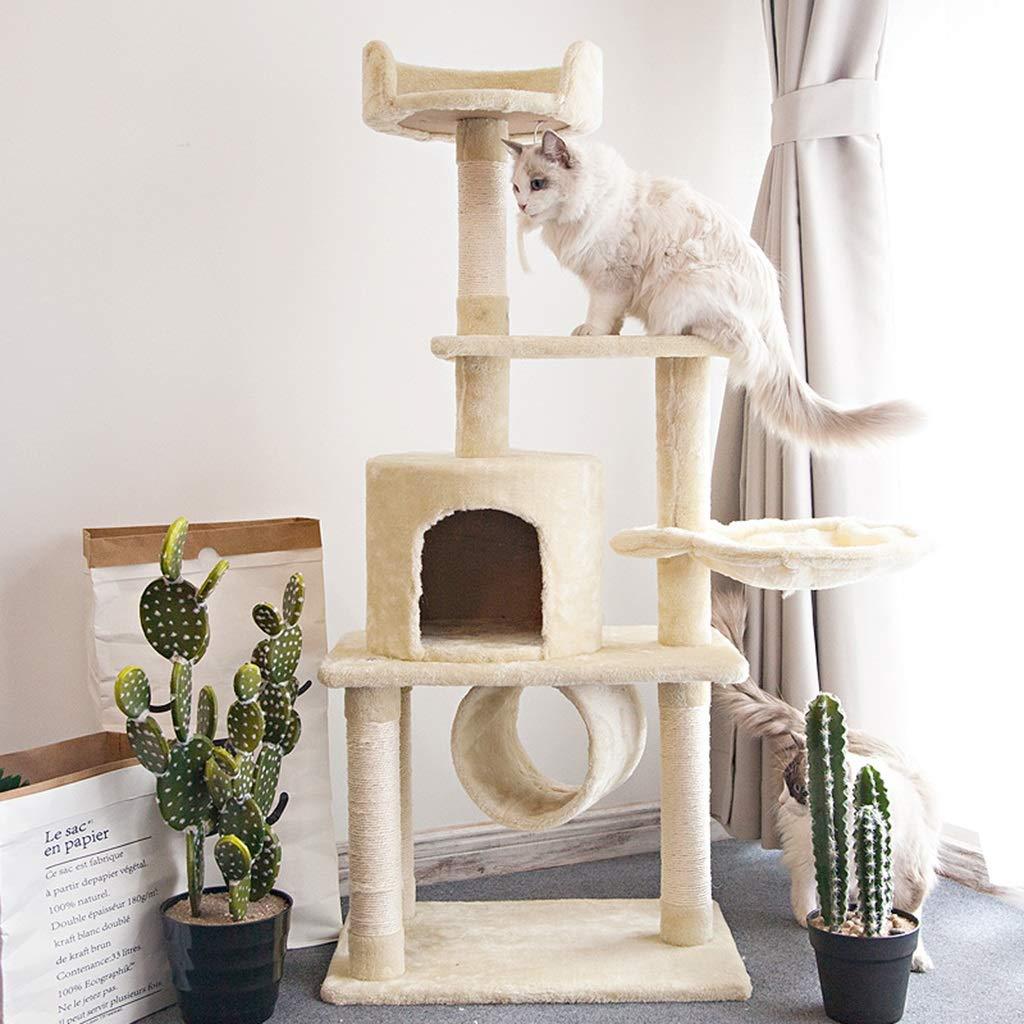 Beige 55cm37cm126cm Beige 55cm37cm126cm Siler Cat Tree, Large Plush Style Cat Climbing Frame with Cat House and Pipeline Floor Activity Center Cat Scratch Board SL-023 (color   Beige, Size   55cm37cm126cm)