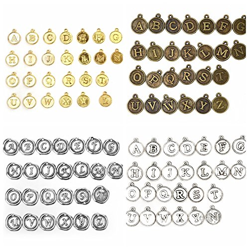Gold Alphabet Charms Round Letter Pendents Random Mix 'A-Z' Jewelry Findings and Supplies 17.5mm Set of 4 (104Pcs) ()